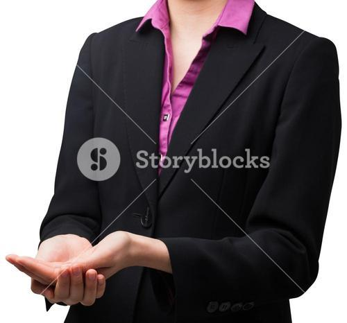 Businesswomans holding hands out