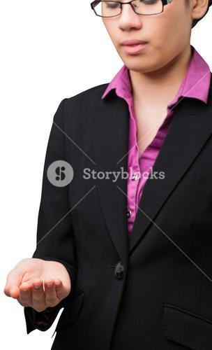 Businesswomans holding hand out