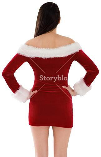 Santa girl standing with hands on hips