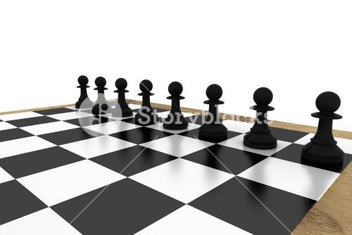 Black chess pawns on board