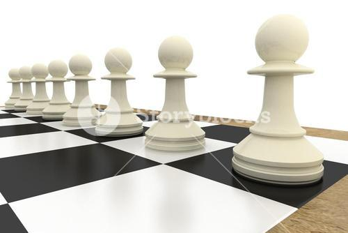 White pawns on chess board