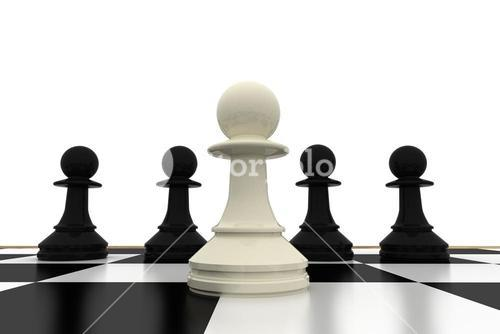 White pawn standing with black pawns