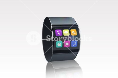 Futuristic black wristwatch with app menu