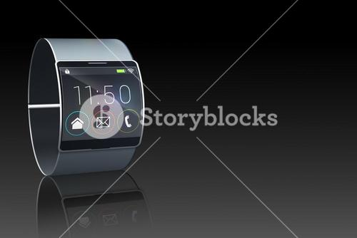 Futuristic black wristwatch with time and menu