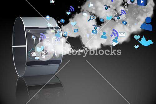 Futuristic black wristwatch with clouds and apps