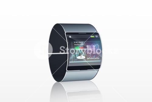Futuristic wristwatch with interface display