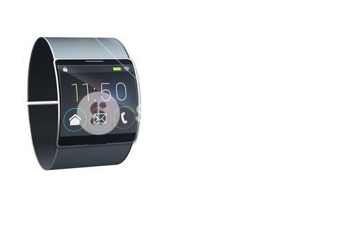 Futuristic black wrist watch with app menu