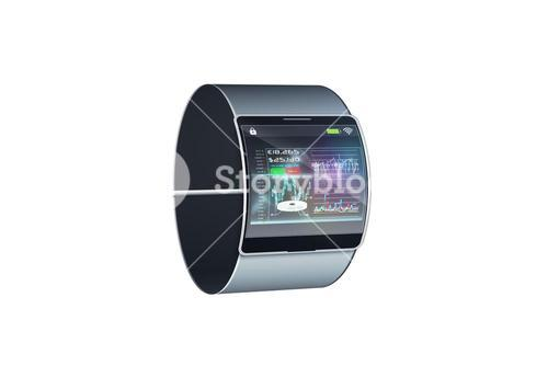 Futuristic black wrist watch with interface