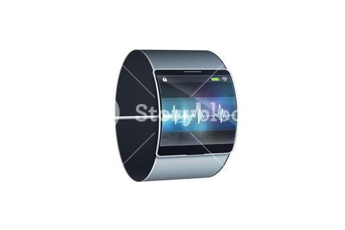 Futuristic black wrist watch with display