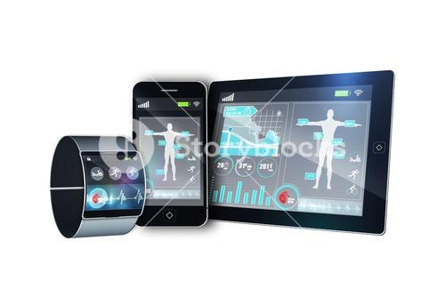 Futuristic black wrist watch with smartphone and tablet