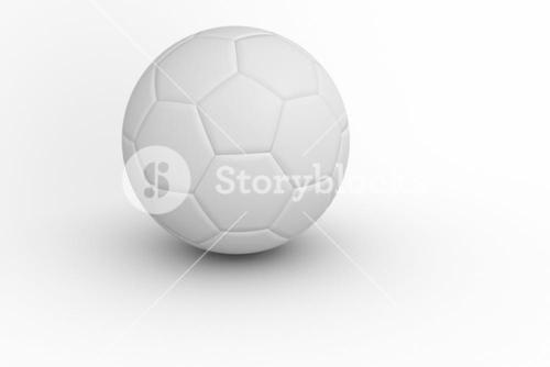 White leather football with shadow
