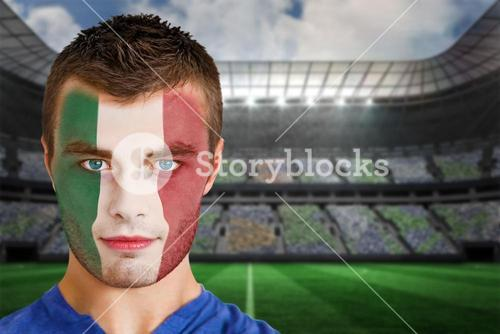 Italy football fan in face paint