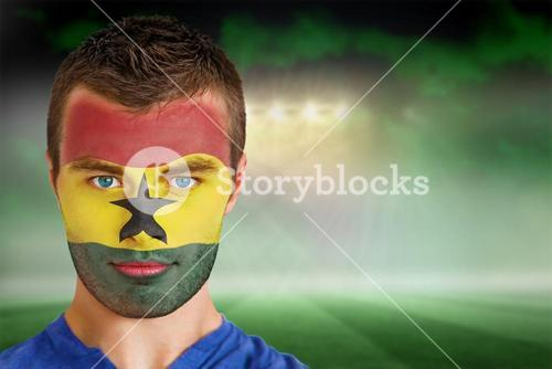 Ghana football fan in face paint