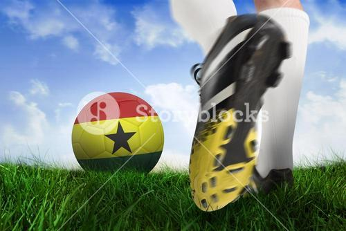 Football boot kicking ghana ball
