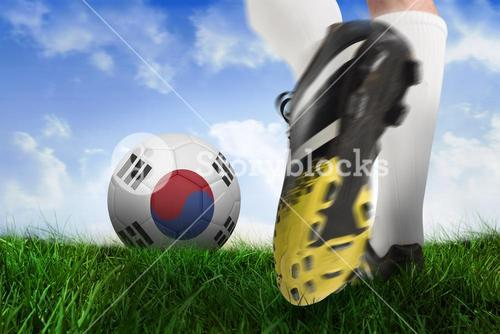 Football boot kicking korea republic ball