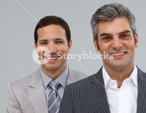 Manager and his employee in a line