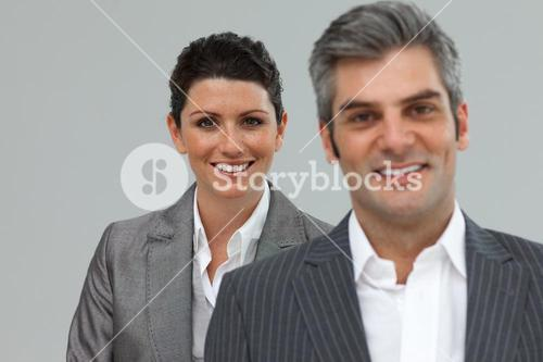 Business coworkers standing in a line