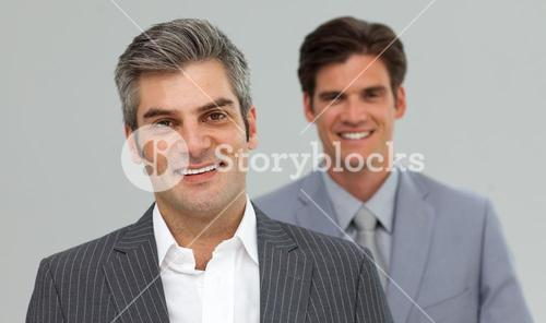 Happy Businessmen in a line