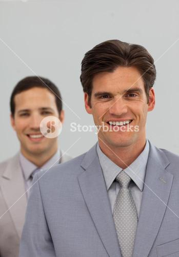 Confident business associates in a row