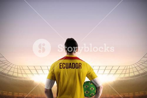 Ecuador football player holding ball