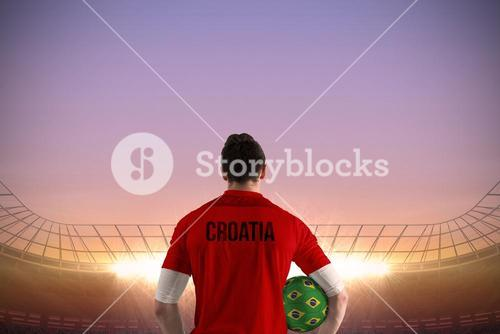 Croatia football player holding ball