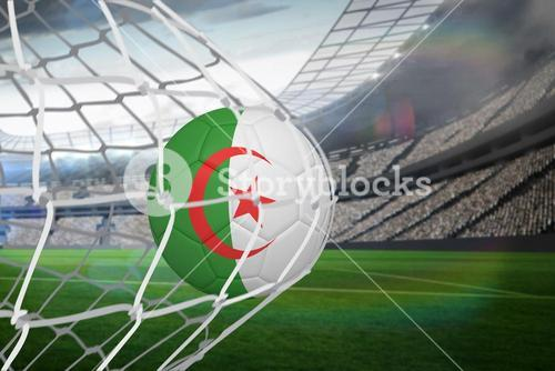 Football in algeria colours at back of net