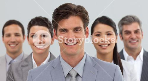Smiling business people showing diversity