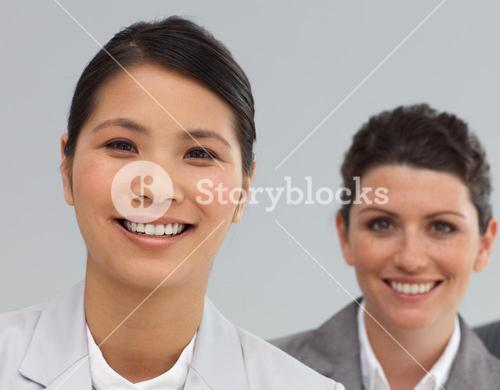 Smiling Business coworkers standing in a line