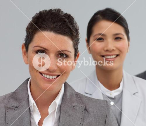 Attractive Business people standing in a line