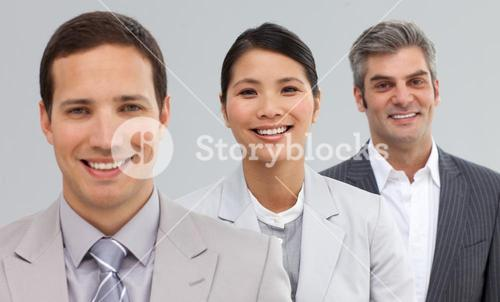 International Business partners standing in a line