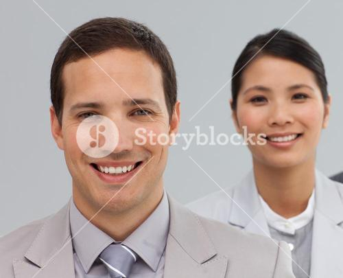 Business associates in a line