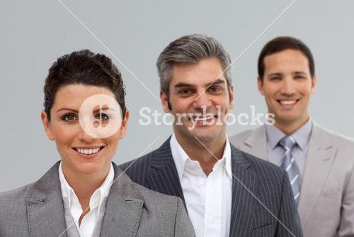 Business coworkers in a row