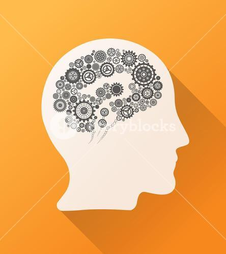 Head with cogs and wheels for brain