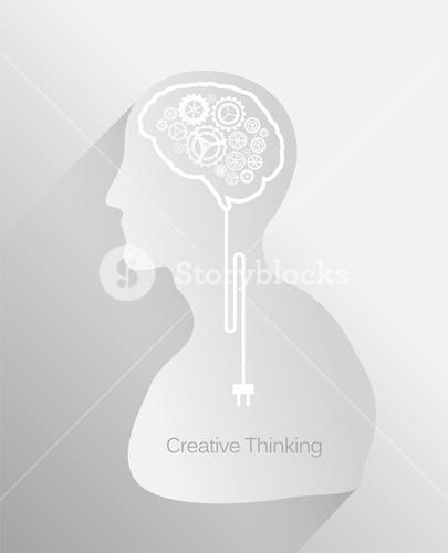 Creative thinking vector with head and gear brain