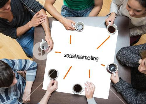 Social marketing on page with people sitting around table drinking coffee