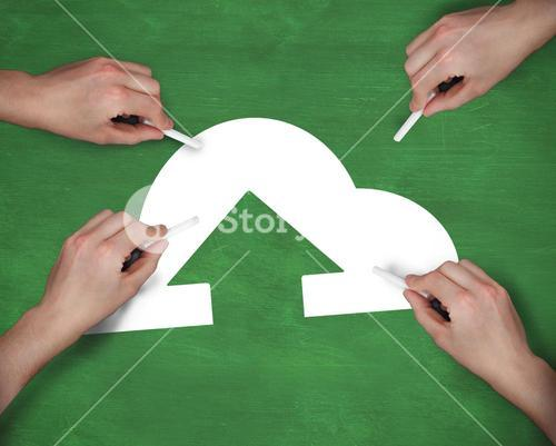 Composite image of multiple hands writing cloud computing icon with chalk