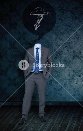 Composite image of headless businessman with lightning arrow
