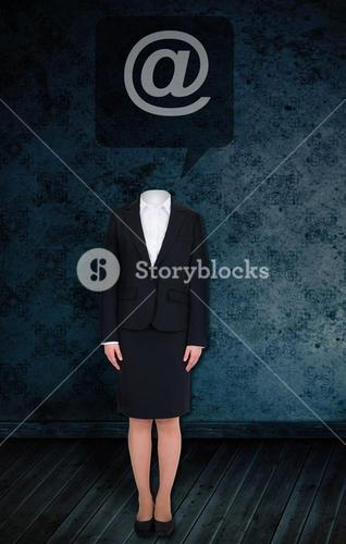 Composite image of headless businesswoman with at sign