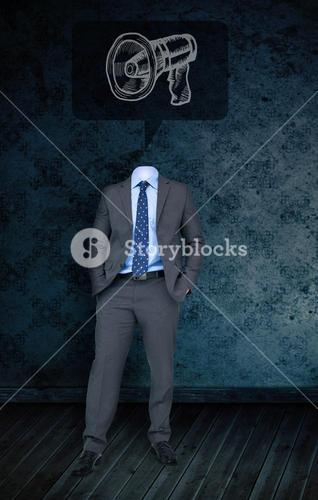 Composite image of headless businessman with megaphone doodle