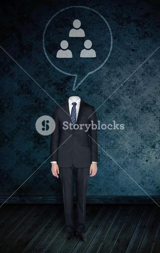 Composite image of headless businessman with speech bubble