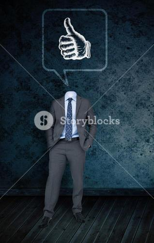 Composite image of headless businessman with thumbs in speech bubble