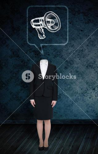 Composite image of headless businesswoman with megaphone in speech bubble