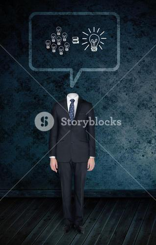 Composite image of headless businessman with light bulbs in speech bubble