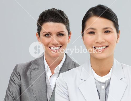 Happy business associates in a row
