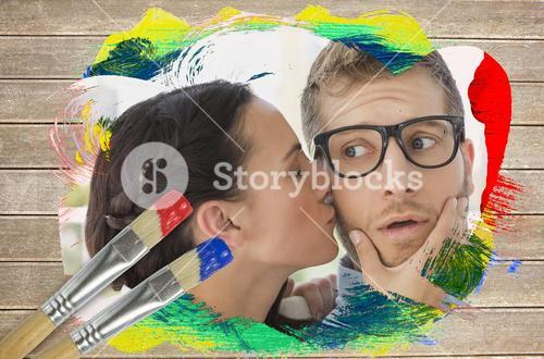 Composite image of flirty colleagues