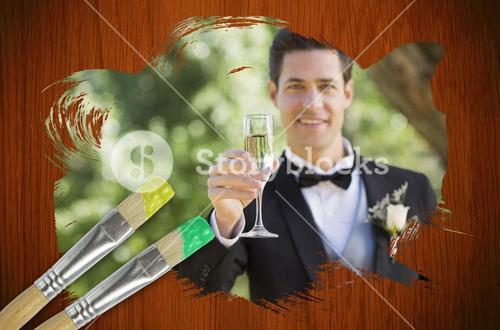 Composite image of groom toasting with champagne