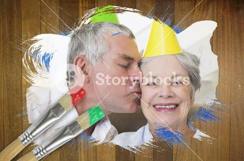Composite image of senior couple celebrating birthday