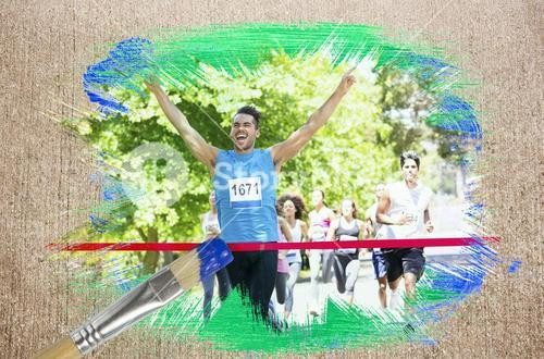 Composite image of racer crossing finishing line