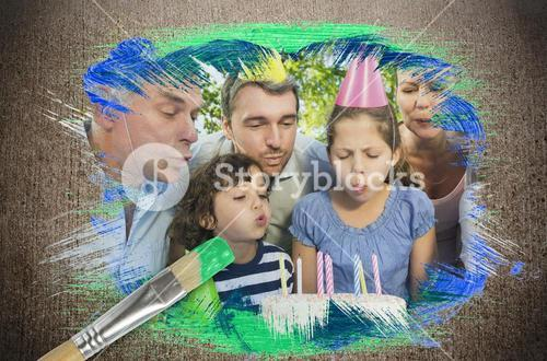 Composite image of family celebrating a birthday