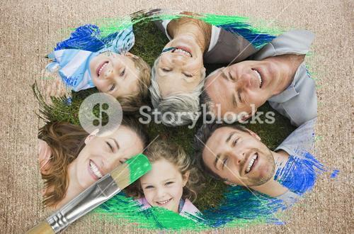 Composite image of extended family smiling at camera